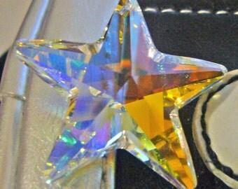Crystal AB 28mm Swarovski Crystal 6714 Star Pendant Golden Shadow Loose Beads for Pendant Top Drill Christmas
