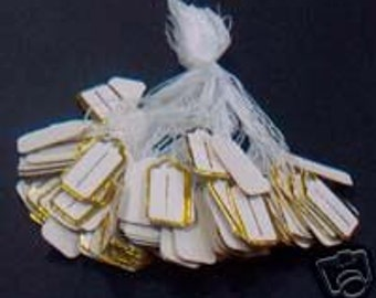 DIY Price Tags with string 100p Gold n White Pricing Easy Pricing Solution non sticky tie string price tags