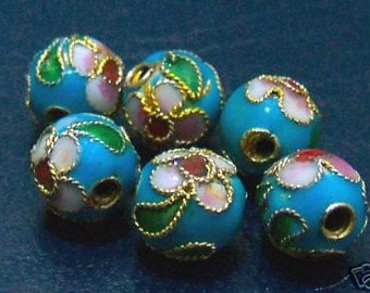 DIY Loose Cloisonne Beads 6pc Light Blue 6mm Round Bead findings jewelry making parts