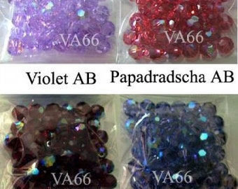 6mm AB 5000 Austrian Swarovski Crystal Round Mix B 20p Violet ab, Papadradscha ab, Siam ab, Tanzanite ab Loose Beads for jewelry making