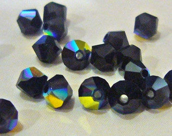 Swarovski Bicone Crystals 5328, 5301 Bicones 50pc 4mm jet AB Loose crystals Beads