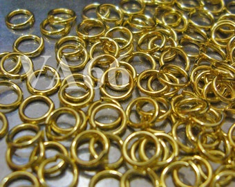 Jumprings Gold Color Nickel Free Metal Base 4mm size 200pcs or 5mm 150pcs Jump Ring Findings Loose for jewelry making parts, scrapbooking