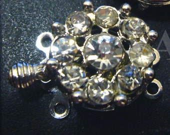 2p Rhinestone 3-strand 18K White Gold Plated Clasps Findings L18 for Jewelry Making Supplies