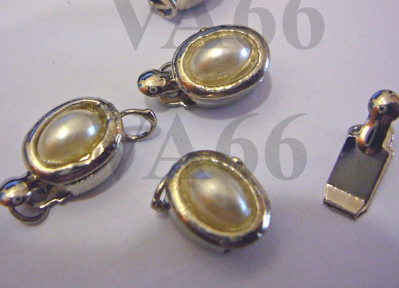4p Pearl 1-strand Rhodium 18K White Gold Plated Faux Pearl Clasps M Findings S95 for Jewelry Making Supplies