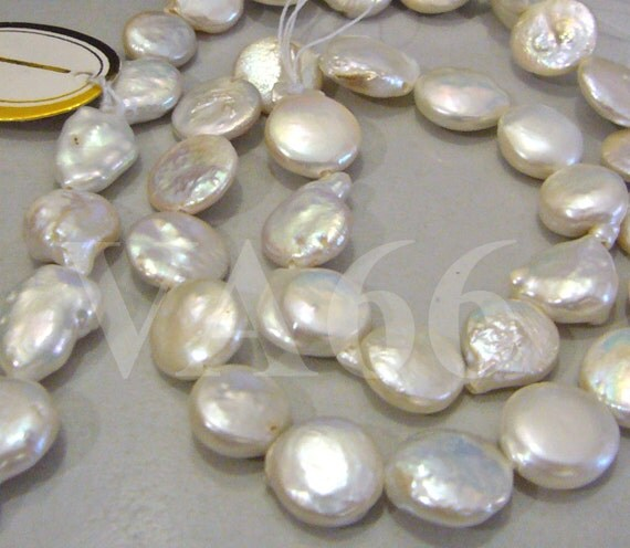 DIY 16 Inches Fresh Water Pearls Coin Button Round Shape Puffy Flat Pearl Beads White Loose Beads Pearls Jewelry Making Supplies 9mm to 12mm