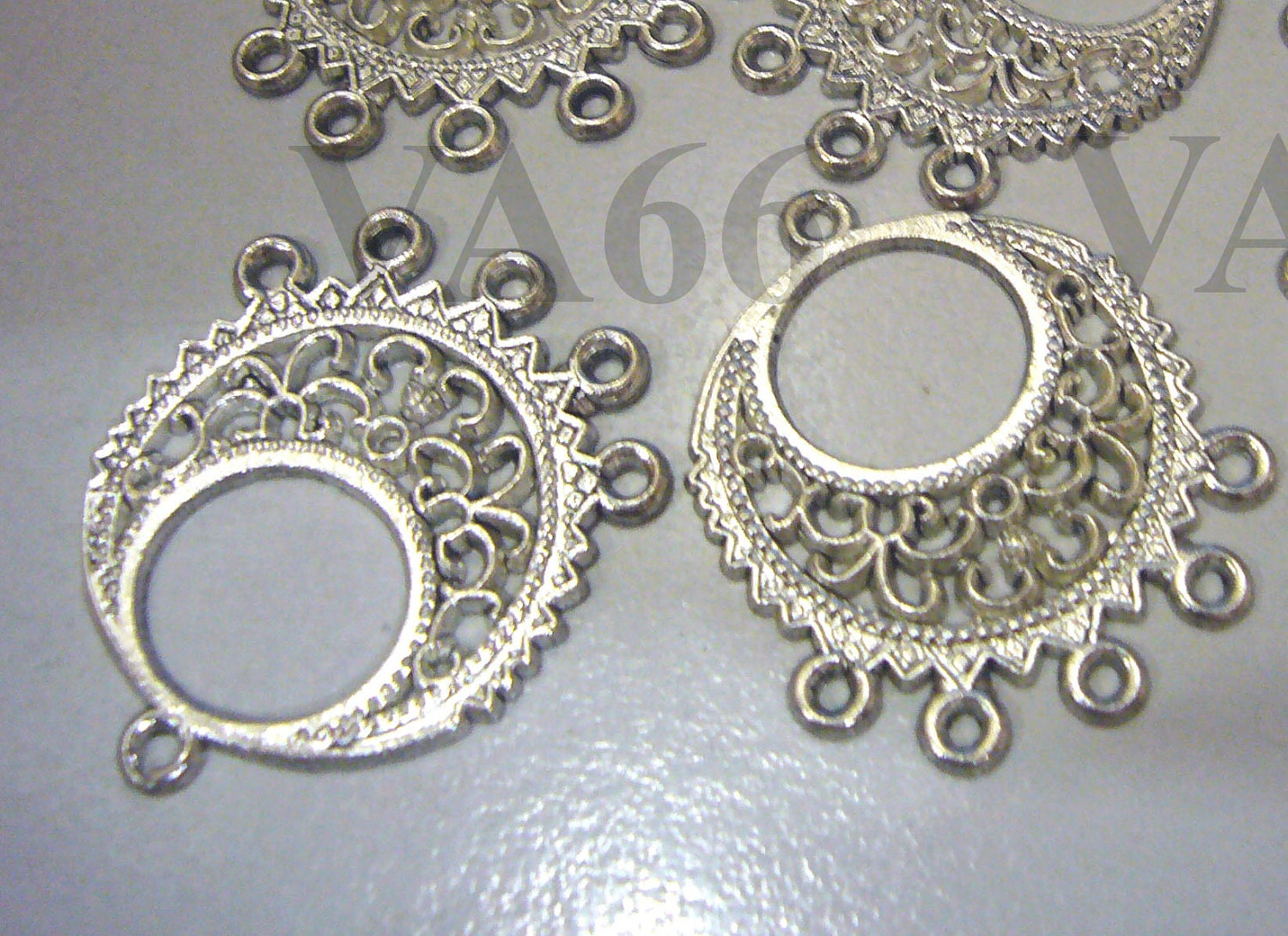 DIY Filigree Lace Chandelier Earrings Parts hoops loops 12pc