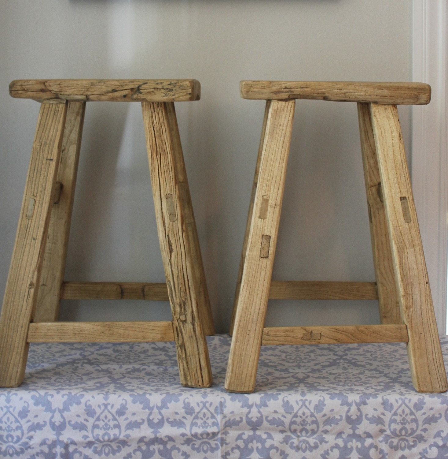 Pair Of Reclaimed Wood Counter Height Stools - Reclaimed Wood Counter Stools WB Designs
