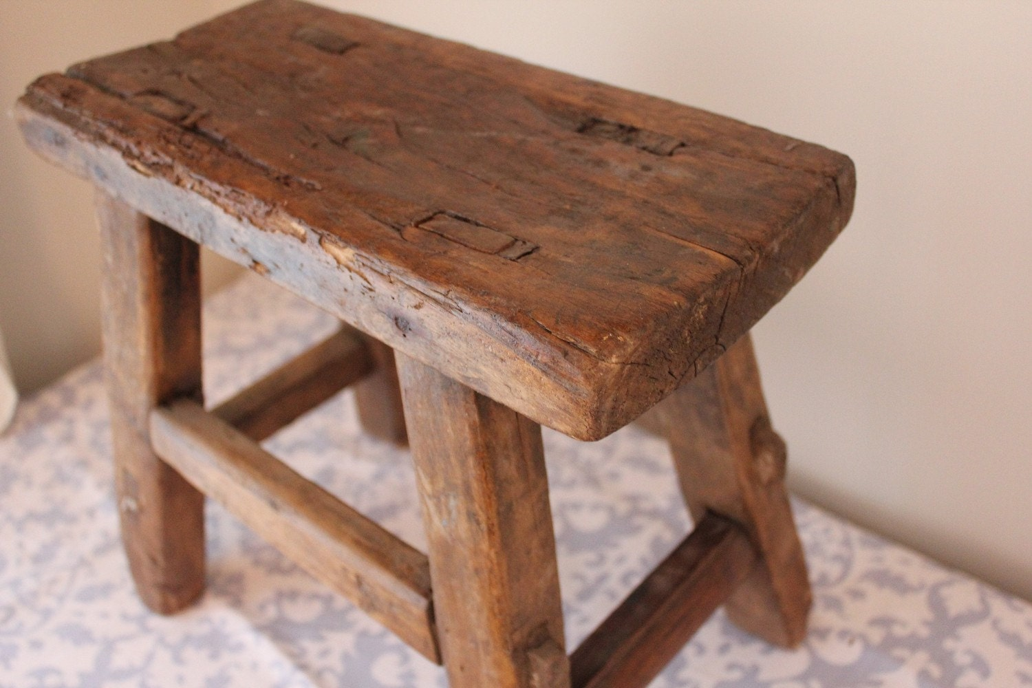 Rustic Wooden Benches ~ Small rustic reclaimed wood bench