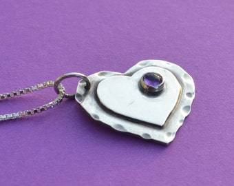 SALE - Two Hearts-Sterling Silver and Amethyst Pendant.  Was 42.00 now 36.00