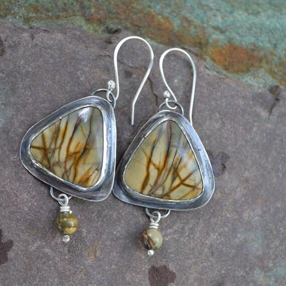 Red Creek Jasper and Sterling Silver Earrings