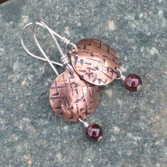 Hammered Copper and Garnet Earrings