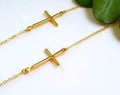 Yellow Gold Plated Sideways Cross Necklace,STERLING SILVER-OFF Center