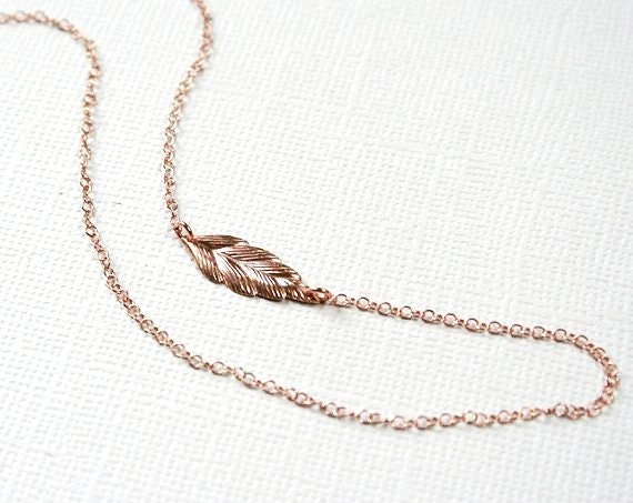 ROSE GOLD Plated Feather Necklace-Sterling Silver-OFF Center