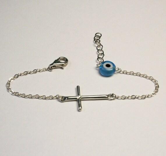 EVIL EYE and CROSS  Sterling Silver Bracelet