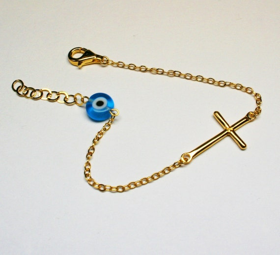 Yellow Gold Plated-Evil Eye and Sideways Cross Bracelet-925 STERLING SILVER