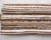 Hand woven Rag Rug - beige, light brown, white 3.25' x 7.64'