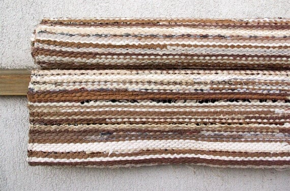 Hand woven Rag Rug - beige, light brown, white 3.25' x 7.64'