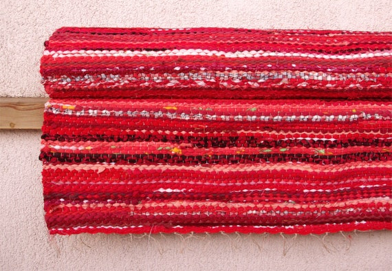 Hand woven Rag Rug - bright red 3.22'x 7.25'