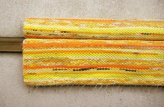 Sunny yellow light Rag Rug - Hand woven 2.46' x 5.87'