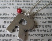 SALE Monogram necklace - the vintage looking letter initial R, with coral