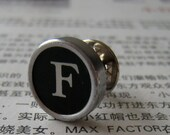 Typewriter key tie tack or brooch - vintage black key - letter initial F