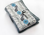 Recycled Forget-Me-Not Handmade Journal, Notebook, Diary, Stitched, Upcycled Paper
