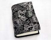 Handmade black lace journal, diary, sketchbook, blank paper, 240 pages