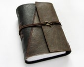 Leather Journal, travel journal, notebook, 320 pages, lined paper, hook clasp, old maps