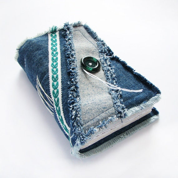 Recycled Blue Denim Jeans Handmade Journal, Notebook, Diary, Soft Cover, Green Button
