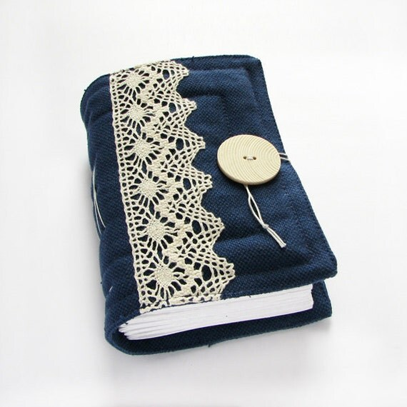 Dark Blue Lace Handmade Journal, Diary, Sketchbook, Art Book, blank pages