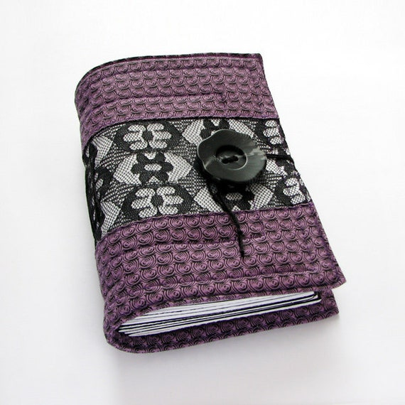Black lace handmade journal, notebook, diary, 320 pages, lined and squared paper