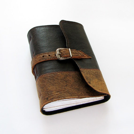 Handmade Leather Journal with buckle closure, 384 pages, lined paper