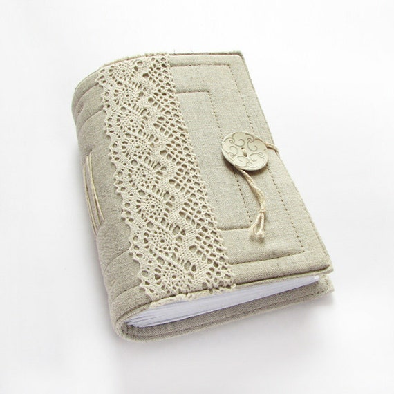Gray Linen Lace Handmade Journal, Diary, Notebook, 384 pages, lined paper