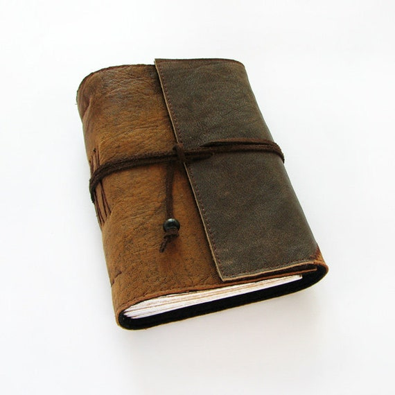 Handmade Leather Journal in brown, travel journal, notebook, 384 pages, lined paper