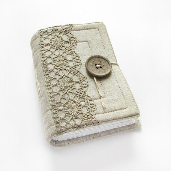 Gray Linen Lace Handmade Journal, Diary, Notebook, 320 pages, lined paper