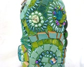 The Green Fairy Vase: Mosaic with lots of Swirls and Flowers