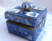Amsterdam Mosaic Box in white and blue - treasure chest, jewelry box