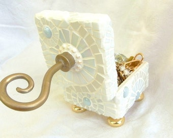 Angel's Wings: Mosaic Jewelry Box, White with Gold Feet and a Twirly Knob