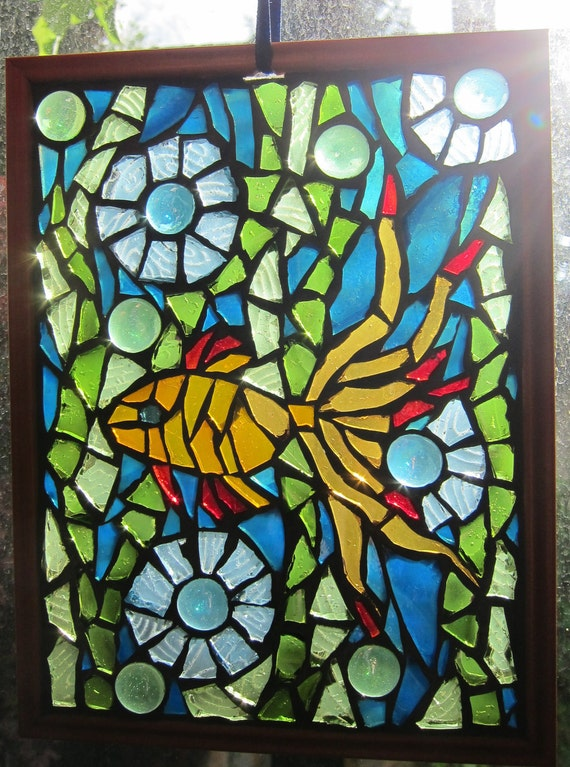 Glowing Goldfish, Mosaic Window art