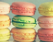 Food Kitchen Art: french macarons No.1 Fine Art Photography Art for kitchen Rainbow Yellow Green Pink Orange, Food Photography Sill life art
