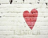 Still life Photography, Love is all around Fine Art Photograph, Love art Heart Print Toronto Red Heart White Brick Still life photography