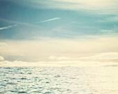 Breathe: Beach Photography Lake photograph Fine Art Print Blue sky Print, clouds sea, Blue Waves, Bathroom Art Print, Canadian Artwork,