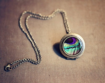 Clearance SALE 50% OFF Photo Locket: Peacock Feather Locket Peacock, Locket Feather, Wearable Art Locket Necklace