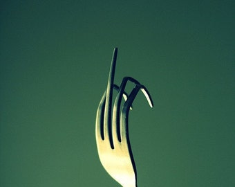 Still Life Photography: Fork You Fine Art Photography Green Funny Rude kitchen art humor Wall Art Kitchen decor