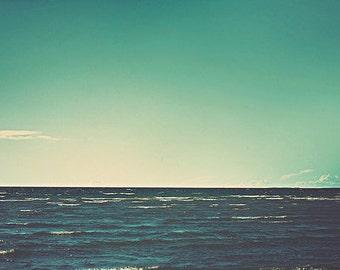 Beach Photography: Secrets of the oceans Fine Art Photography Ocean Seascape Blue Sky Water Photography Ocean Print Blue Bathroom Art Print