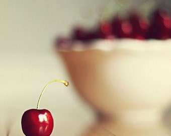 "Food Photography kitchen art ""sweet cherry""  Fine Art Photography Fruit wall art Kitchen Art still life Photography fruit wall decor red"