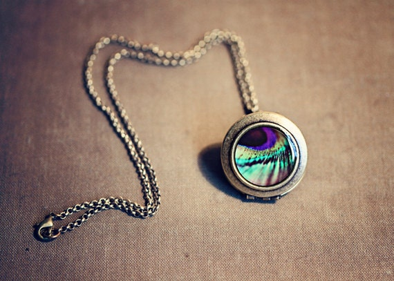 Clearance SALE 75% OFF Photo Locket: Peacock Feather Locket Peacock, Locket Feather, Wearable Art Locket Necklace