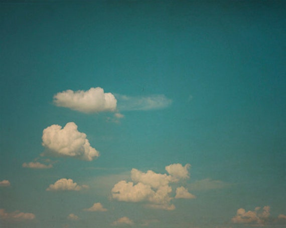 Nature Photography, Cloud Photography: Blue Sky Fine Art Photography teal nature photography wall art Vintage Inspired Cloud Print
