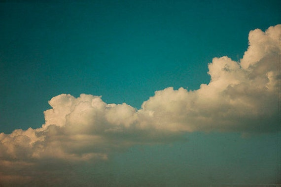 Cloud Photography: Day Dreamer Fine Art Photography Dreamy, Whimsical Blue Sky teal nature photography wall art Vintage Inspired