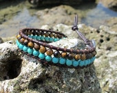 Single Wrap Double Row Brow and Blue Stone Leather Bracelet